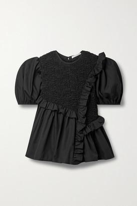 Cecilie Bahnsen Carlotta Asymmetric Ruffled Smocked Cotton-blend Poplin Blouse