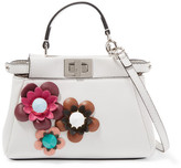 Fendi Peekaboo Micro Appliquéd Leather Shoulder Bag - Off-white