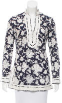 Tory Burch Floral Print Long Sleeve Tunic