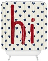 "DENY Designs Hi Hearts Americana Shower Curtain Red (71"" x 74"