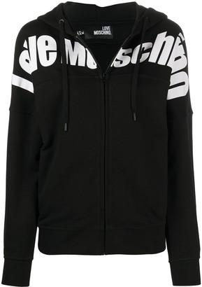 Love Moschino Logo-Print Hooded Cotton Jacket