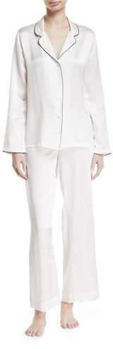 Derek Rose Bailey Piped Silk Pajama Set