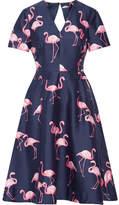 Draper James Cutout Printed Silk And Cotton-blend Dress - Storm blue