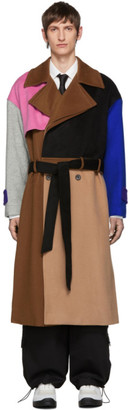 ADER error Multicolor Wool Robe Trench Coat
