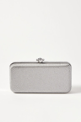 Versace Crystal-embellished Metallic Satin Clutch - Silver