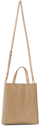 Marni Beige and Red Musseo Soft Tote