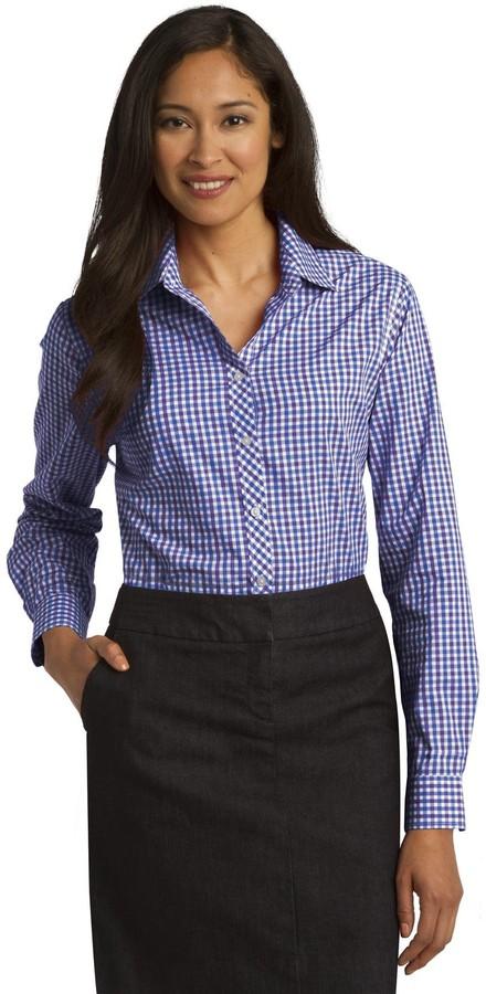 Port Authority Ladies Long Sleeve Gingham Easy Care Shirt. L654 Blue/ Purple L