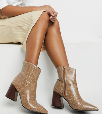 Simply Be extra wide fit heeled boot in taupe croc