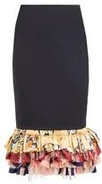 Marine Serre Tailored Fishtail Upcycled Midi Skirt - Womens - Navy Multi
