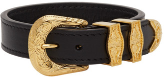 Versace Black and Gold Buckle Bracelet