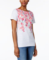 Karen Scott Floral-Print Studded Top, Only at Macy's