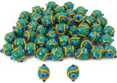 Generic Green Round Dot Glass Beads Lampwork 12mm Approx 50