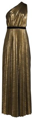 BCBGMAXAZRIA Metallic One-Shoulder Pleated Dress