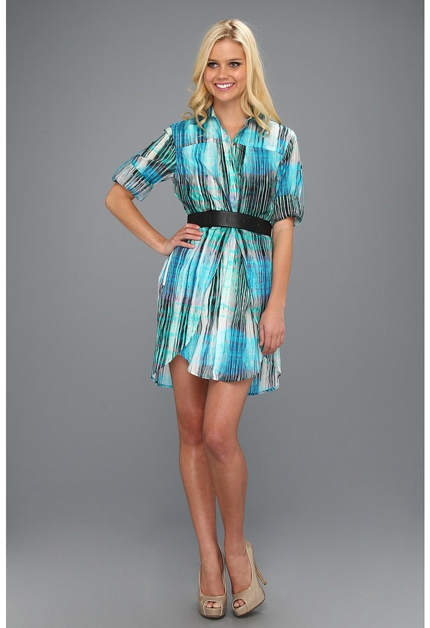 Halston Shirtdress with Overlay Detail and Belt (Lagoon Watercolor Plaid Print) - Apparel