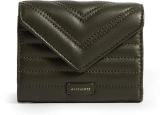 AllSaints Justine Quilted Leather Flap Card Holder