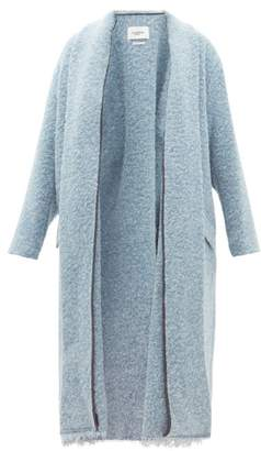 Etoile Isabel Marant Faby Raw Hem Boucle Coat - Womens - Light Blue