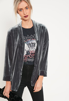 Missguided Grey Slouchy Velvet Blazer