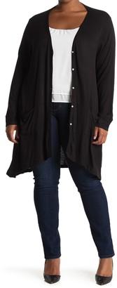 Bobeau Ribbed Cardigan (Plus Size)