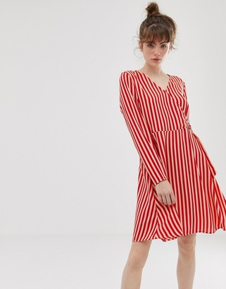Blend She Philippa stripe wrap dress-Red