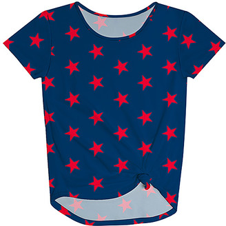 Monday's Child Girls' Blouses - Navy Star Knot-Front Tee - Toddler & Girls