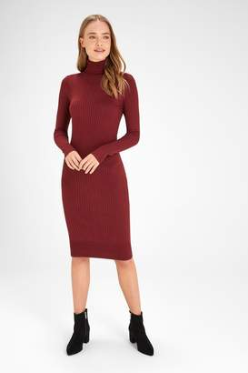 Next Womens Burgundy Rib Roll Neck Jumper Dress - Red