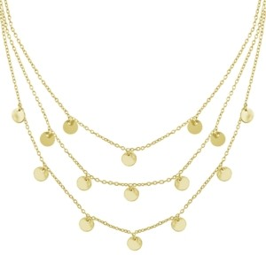 Essentials Triple Row Chain 16+2in Necklace with Disc Drops in Gold Plate or Two Tone Fine Silver Plate