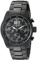 Akribos XXIV Men's AK862BK Round Black Dial Chronograph Quartz Black Bracelet Watch