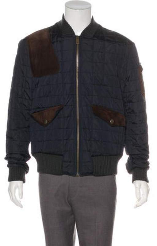 30b82c576 Quilted Suede-Trimmed Bomber Jacket brown Quilted Suede-Trimmed Bomber  Jacket