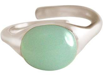 GEMSHINE Ring Sterling Silver, 18k gold plated or rose with sea green Chalcedony gemstone - Size adjustable - Ethic, sustainable Fine jewellery Made in Spain, Metal Color Silver:Silber