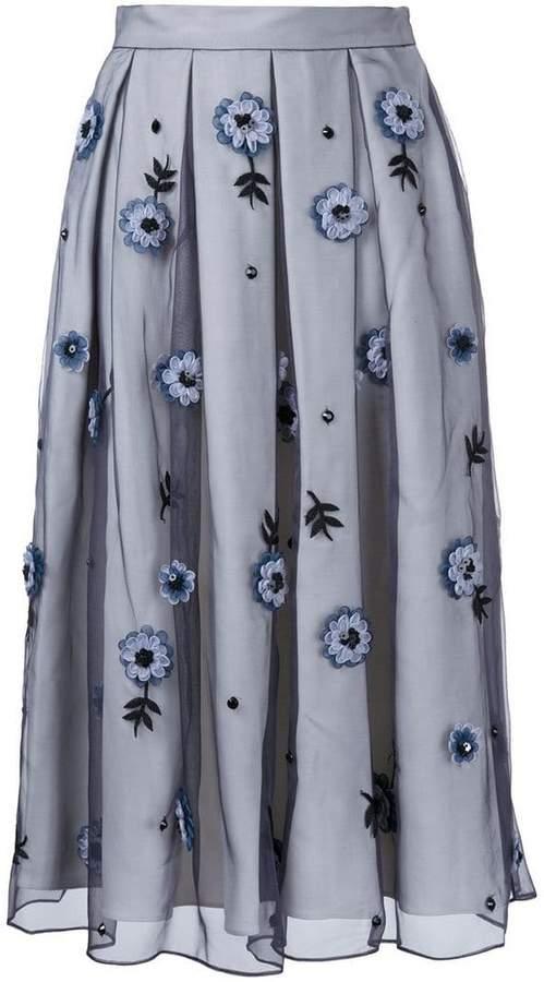 Holly Fulton flower embellished pleated skirt