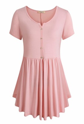 Cyanstyle Women's V Neck Short Sleeve Henley Pleated Casual Tunic Blouse Tops (Light Pink
