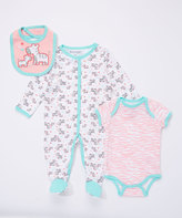 Buster Brown Candy Pink & Bright White 'Mommy and I' Three-Piece Footie Set