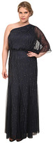 Adrianna Papell Plus Size One Shoulder Bead Blouson Gown