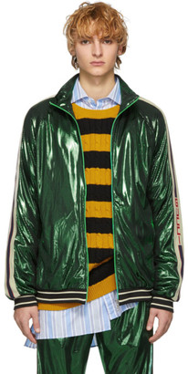 Gucci Green Oversized Laminated Track Jacket