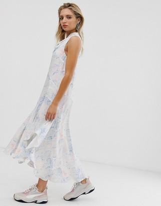 Asos snake print sleeveless cowl neck midi dress-Multi