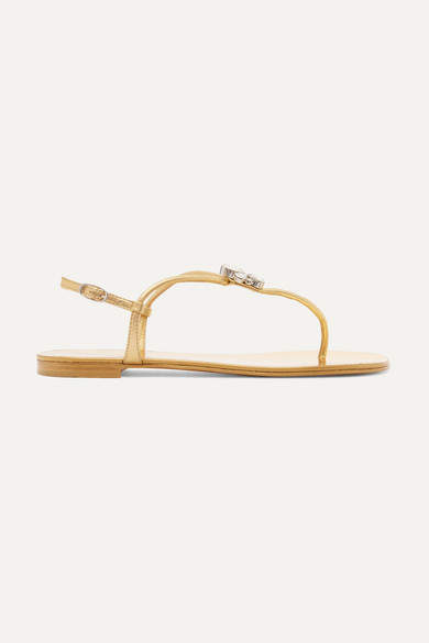 Giuseppe Zanotti Nuvorock Crystal-embellished Metallic Leather Sandals - Gold