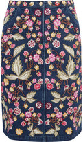 Needle & Thread Wild Flower Embroidered Denim Skirt - Dark denim