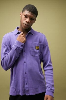 Long Gone Acid Wash Waffle Shirt - Purple S at Urban Outfitters