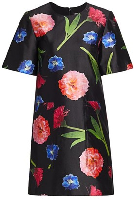 Carolina Herrera Short-Sleeve Floral Silk-Blend Shift Dress