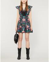 Sandro Iveane linen and silk-blend mini dress