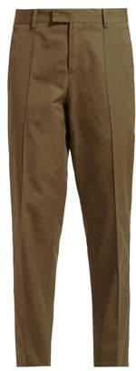 Bottega Veneta Tapered Crepe Trousers - Womens - Khaki