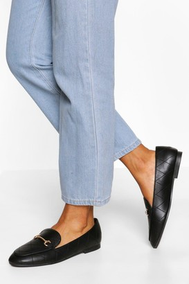 boohoo Quilted Basic T Bar Loafers