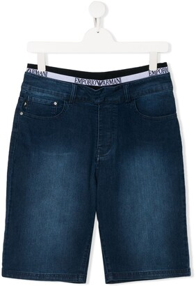 Emporio Armani Kids TEEN layered-waistband denim shorts