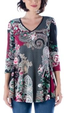 24seven Comfort Apparel Women's Paisley Print V-neck Flared Tunic Top