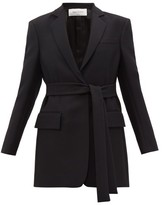 Valentino Single-breasted Belted Silk-blend Crepe Jacket - Womens - Black