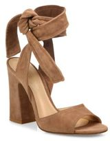Gianvito Rossi Nika Suede Ankle-Wrap Block Heel Sandals