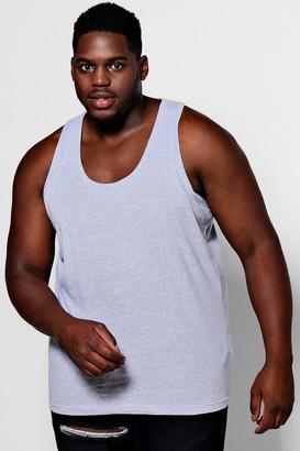 boohoo Mens Grey Plus Size Basic Vest, Grey