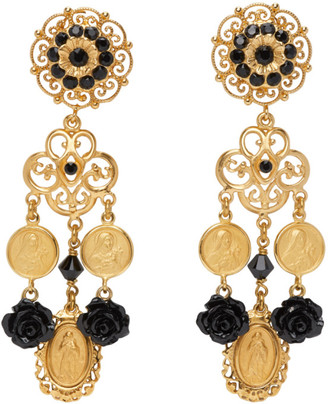 Dolce & Gabbana Gold Rose Charm Earrings