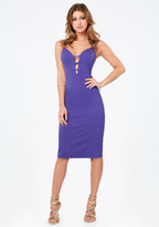 Bebe Strappy Plunge Midi Dress