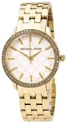 Michael Kors Women's Gold 5-Link Round Argyle Glitz Watch MK3120